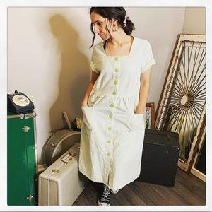 Vintage Cottage Core Midi Summer Dress